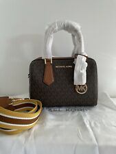 Michael Kors Women Small Crossbody PVC Leather Bag Satchel Handbag Brown Gold MK