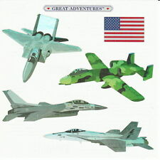 "6"" x 6"" ~ Foil Jet Army Military Fighter Jets USA Grossman Stickers SALE ~"