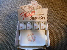 Old Vintage Fleurette 8 Piece Snack Set Plates & Cups & Original Display AD Box