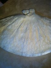 vintage wedding dress xs satin lace tea length S