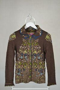 Ladies IVKO Cardigan Wool Sweater Floral Print Size S Small 36