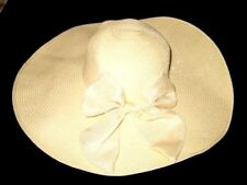 SALE!  NEW OLD STOCK HAT IVORY WHITE WIDE BRIM W/ Bow From Bridal Shop Women's