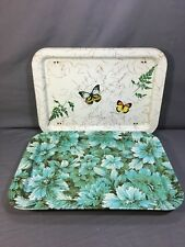 (2) Vintage TV Lap Serving Tray Floral Butterfly Blue Green Metal Tin Foldable