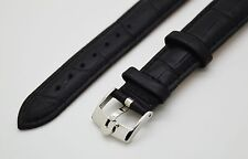 OMEGA STAINLESS STEEL BUCKLE BLACK LEATHER STRAP/BAND 18MM