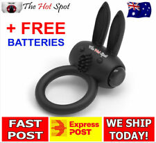 NEW Vibrating Rabbit Cock Penis Ring Mens Male Vibrator Delay FAST POST Sex Toy