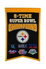 """PITTSBURGH STEELERS 6 TIME SUPER BOWL CHAMPIONS EMBROIDERED WOOL BANNER 14""""X22"""""""