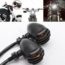 MOTORCYCLE BLACK GRILL TURN SIGNAL AMBER LIGHTS FOR Harley Davidson