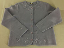 Pendleton Petite Boiled Wool Cardigan Sweater Lavender Beaded Embroidered Sz LP
