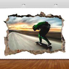 Extreme Sports Skateboarding Jump  3D Mural Decal Wall Sticker Poster Vinyl S300