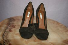 MASSIMO DUTTI WOMEN'S BROWN SUEDE HELL SHOES SIZE 39, US 8