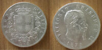 Italy 5 Lire 1875 Silver Coin Vittorio Emanuele 2 Free Shipping Worldwide