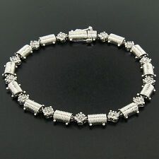 "14K White Gold 7.25"" 1.30ctw Round Diamond Cluster & Ribbed Link Tennis Bracelet"