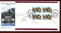 2003 Murray River Shipping (Swan Hill Block of 4 Mini Sheet) - Wesley FDC