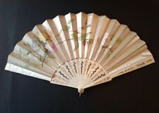 """Large Antique Chinese Hand Painted Silk Carved Bovine Bone Folding Hand Fan 23"""""""