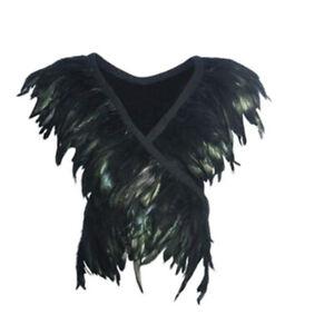 Feather Shawl Black Shrug Cape Vest Show Party Shoulders Wrap Unisex Costume
