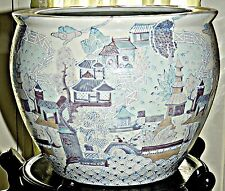 Vintage Chinese Porcelain Fish Bowl Village Scene  ON SALE