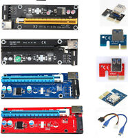 USB 3.0 Pcie PCI-E Express 1x-16x Extender Riser Card Adapter SATA Power Cable