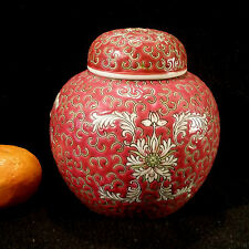 Original chinesische Jingdezhen Teedose Porzellan, Aufglasuremaille Reliefdekor