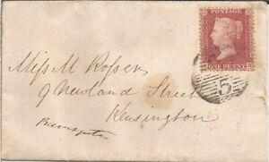 GB QV 1859 LOCAL LONDON COVER PENNY RED STAR 'TH' BERKLEY STREET TO KENSINGTON