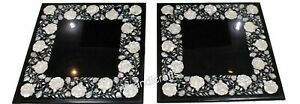16 Inches Marble Side Table Top Hand Inlaid with MOP Coffee Table Set of 2 Piece