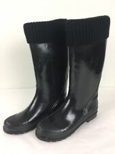 Cougar Womens Rain Boots Black Lined Size 11 Cutiepie Rubber Sweater Cuff