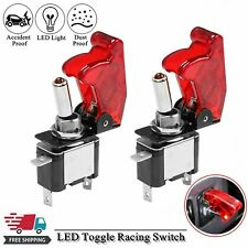 For Car Truck 2PCS Red Cover LED Toggle Switch Racing SPST ON/OFF 20A ATV 12V