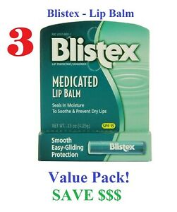 (3x) Blistex Medicated Lip Balm SPF 15 Protection Sunscreen Dry Lip Stick