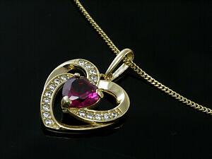 333 Gold Herz Anhänger in Größe 14 mm x 12 mm mit Rubin und Zirkonia ohne Kette