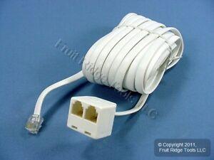 Leviton White 25' DUPLEX Phone Line Extension Cord 6-Wire RJ11 RJ14 C2627-25W