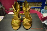 Gold satin Dancelife ballroom / latin dance shoes - size UK 2.5 (P14)