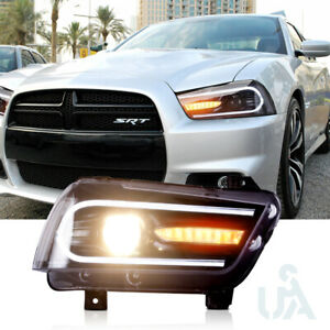 2011-2014 Dodge Charger HID Headlights Black Dual LED DRL Strip Projector Lamp