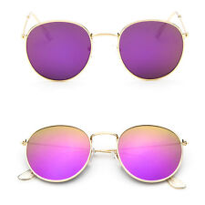 Women Retro Fashion Aviator Mirrored Round Lens Oversized Sunglasses Eye Glasses