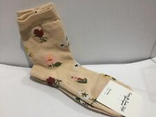 Long Socks Made in Korea - Floral Beige