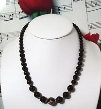 Black Onyx With 14k Gold Filled Beaded Necklace.With Cloisonne.