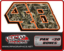 CAMO  RACE CAR NUMBERS SETS, imca, late model, 4cyl, Ect
