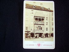 OLD ALBUMEN/CABINET CARD: INNSBRUCK~GOLDENES DACHL~ANIMATED~PHOTO: C.A. CZICHNA