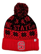 1X NC State Wolfpack Double Logo Red & Black Knit Pom Beanie Toboggan Hat Cap