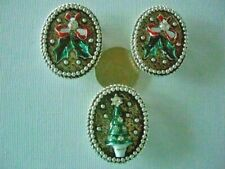 2/3 Hole Slider Beads Christmas Holly & Trees Silvertone 3 Pieces