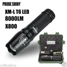 X800 Zoomable 8000LM XML T6 LED Tactical Flashlight+18650 Battery+Charger+Case
