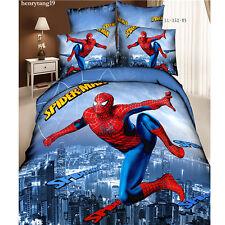 4pc Spider Man Queen Size Bedding Set Contton Duvet Cover Bed Sheet Pillowcase