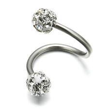 Stainless Steel Twist Ear Helix Cartilage Crystal Body Piercing Earring Stud New