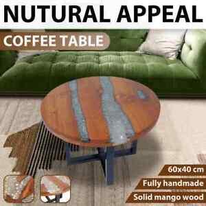 vidaXL Teak Resin Coffee Side Table Mango Wood Base Round Rustic Furniture