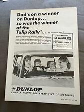 "VINTAGE 1960s DUNLOP TYRES ""TULIP RALLY"" CAR ORIGINAL ADVERT"
