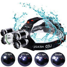 80000LM 5 CREE XM-L T6 LED 18650 Headlamp Headlight Flashlight Head Torch NEW
