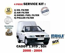 FOR VW CADDY 1.9TD SDi  12/2000-03/2004 OIL AIR FUEL POLLEN FILTER SERVICE KIT