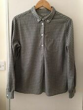 MARGARET HOWELL Grey Check Brushed Cotton Flannel Shirt Size 12 / M