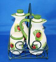Gorgeous French 4 Piece Ceramic China Cruet Set In Wire Basket Tray Ladybirds