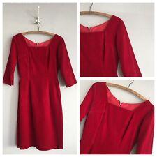 True Vintage 1950s/60s Red Velvet Fitted  Evenibg Cocktail Dress UK8 XS
