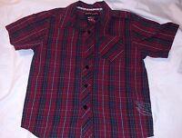 TONY HAWK Boys Button Down Dress Shirt Sz M 5/6 Red Grey Blue Plaid Top Collar