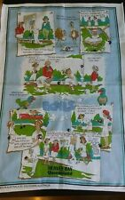 Vtg cotton tea towel the funny side of the game of Bowls Hervey Bay Australia